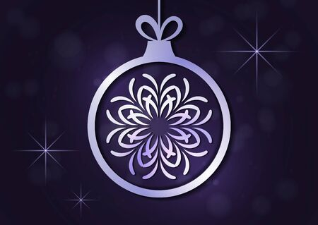 Abstract Christmas ball, inside creative snowflake ornament on dark glare background. Vector illustration for your design.