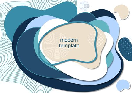 Dynamic color shapes and lines. Modern abstract composition with flowing liquid forms on a white background. Template for design banner, flyer or presentation. Vector illustration