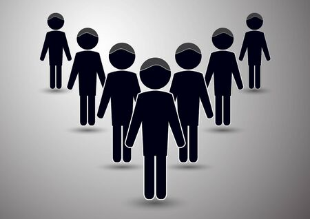 Silhouettes of people. Teamwork team concept. Leadership and lagging concept. Vector illustration.