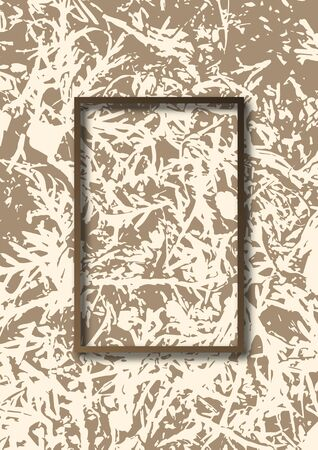 Abstract grunge texture of fallen spruce tree branches. Rectangular frame. Template for your design. Vector illustration