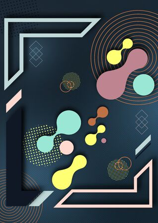 Abstract fluid and modern elements, molecules, geometric frame. Dynamic color shapes and lines. Trendy template for cover design for brochures, web banners, flyers or posters. Vector illustration Иллюстрация