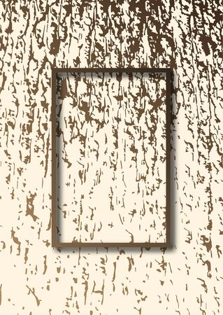 Abstract grunge wood texture, rectangular frame. Template for your design. Vector illustration