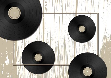 Music concept with vinyl discs on old wood background. Vector illustration for your design.