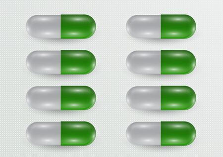 Set. Pill icon closeup, 3d realistic. Medical Isolated on a gray background. Capsule template design for graphic, mockup. The concept of medicine and healthcare. Vector illustration Stock Illustratie