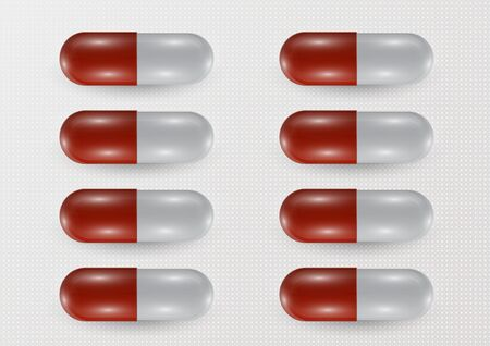 Set. Pill icon closeup, 3d realistic. Medical Isolated on a gray background. Capsule template design for graphic, mockup. The concept of medicine and healthcare. Vector illustration Illustration