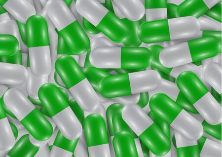 Background with bright pills, capsules. Vitamin pills for good health and antibiotics. Poster banner for website. Pharmacy, painkiller capsules and medications. Vector illustration
