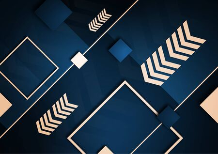 Tech squares, arrows and lines. Bright abstract background. Corporate design. Vector illustration