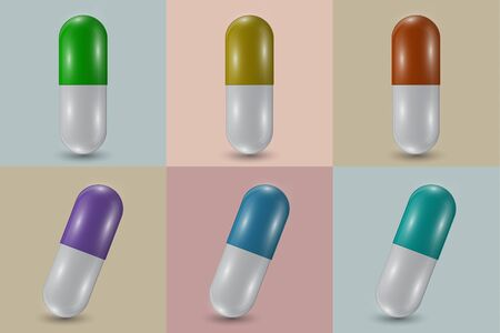 Set. Closeup of capsule pill icon and natural medicinal plant leaves. Medical isolated on a square background. The concept of medicine and healthcare. Vector illustration for your design.