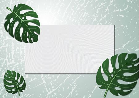Monstera tropical leaves on wood texture background. Invitation card design template. Rectangular frame for text. Botanical design. Vector illustration