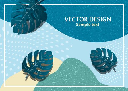 Abstract tropical background with monstera leaves. Composition with exotic plants on a bright background. Template for your design. Vector illustration for advertising.
