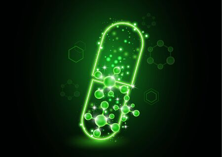 Abstract neon capsule, pill with molecules. The concept of medicine, healthcare, pharmacy and modern science. Vector illustration for your design. Illustration