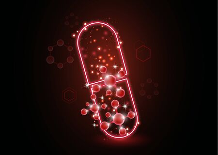 Abstract neon pill with molecules. The concept of medicine, healthcare, pharmacy and modern science. illustration for your design.