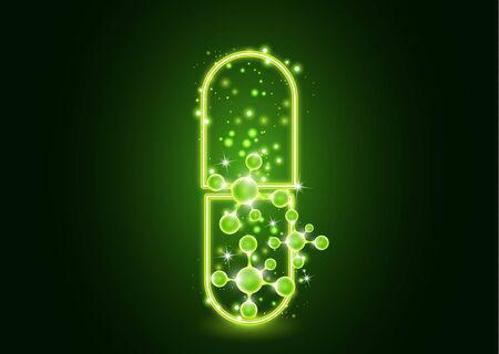 Abstract neon pill with molecules. The concept of medicine, healthcare, pharmacy and modern science.