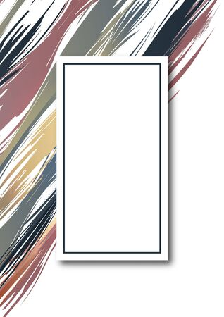 Bright paints, ink brush stroke, lines, textures. White background. Artistic design element, box, frame or background for text.