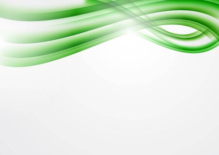 Abstract green curved lines on a white background. Modern template for your design. Ilustrace