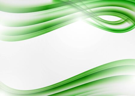 Abstract green curved lines on a white background. Modern template for your design.