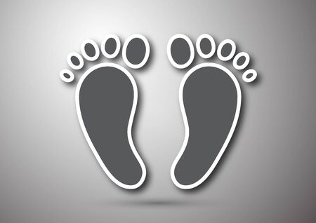 Foot print icon isolated on gray background. Design element for layouts, templates, backgrounds, presentations. Vector illustration