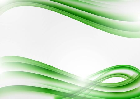Abstract green curved lines on a white background. Modern template for your design. Vector illustration