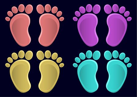 Collection of baby legs. Baby steps set illustration - pair of colored footprints in a flat style. Ilustração