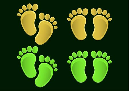 Collection of baby legs. Baby steps set illustration - pair of colored footprints in a flat style.Vector