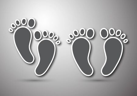 Foot print icon isolated on gray background. Design element for layouts, templates, backgrounds, presentations. Vector illustration Banco de Imagens - 131364116
