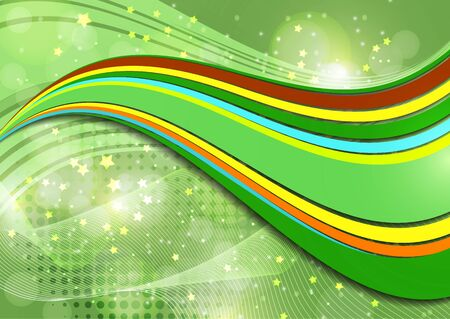 Smooth wave lines abstract background - colored curved stripes and lines in a motion concept and with light and shadow effects. Magic concept background with bokeh effect. Vector illustration