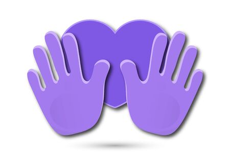 Icon. Colorful design of united loving hands. Hand giving a heart, happy valentines day. Vector illustration for your design.
