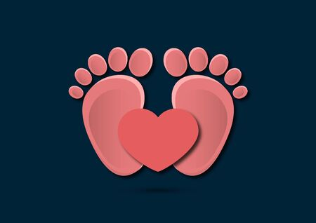 Icon, children's footprint and heart. The concept of love for children. Flat design. Vector illustration. Banque d'images - 133280613