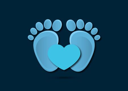 Icon, childrens footprint and heart. The concept of love for children. Flat design. Vector illustration. Ilustracja