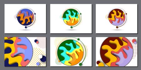 Set. Abstract 3d background with paper cut shapes and circles of dots. Design layout for business presentations, flyers, posters and invitations. Colorful art of carving. Vector illustration Banque d'images - 133280615