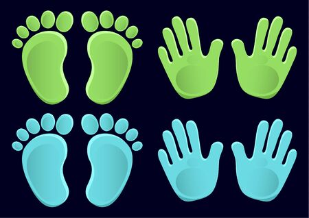 Baby footprints and handprints, icon. Abstract concept. Flat design. Vector illustration on a black background. Vettoriali