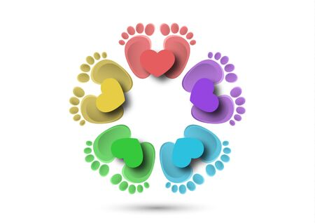 Icon, children's footprint and heart. The concept of love for children. Flat design. Vector illustration. Banque d'images - 133280619