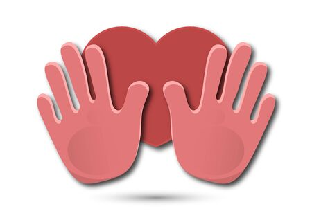 Icon. Colorful design of united loving hands. Hand giving a heart, happy valentines day. Vector illustration for your design. Banque d'images - 133280627