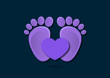 Icon, children's footprint and heart. The concept of love for children. Flat design. Vector illustration. Banque d'images - 133280630