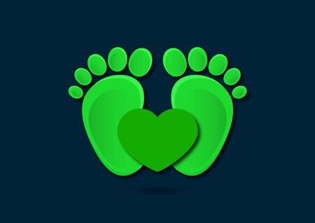 Icon, children's footprint and heart. The concept of love for children. Flat design. Vector illustration. Banque d'images - 133280631
