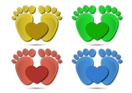 Icon, children's footprint and heart. The concept of love for children. Flat design. Vector illustration.