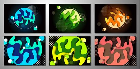 Set. Abstract 3d background with paper cut shapes and circles of dots. Design layout for business presentations, flyers, posters and invitations. Colorful art of carving. Vector illustration