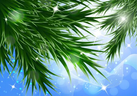 Sparkling christmas decorative background with green spruce branches, magic glare. Vector illustration for your design. Banque d'images - 133033853