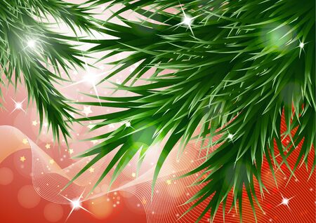 Sparkling christmas decorative background with green spruce branches, magic glare. Vector illustration for your design. Banque d'images - 133033436