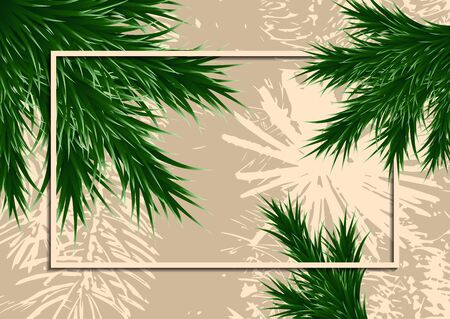 Fir branches and frame on a background with testure. Template for design. Vector illustration Banque d'images - 133033847