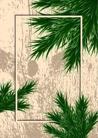 Fir branches and frame on a background with testure. Template for design. Vector illustration Banque d'images - 133033554