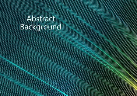 Abstract wavy square grid on a black background. Bright color gradient. Elegant background for wallpaper, banner, cover, flyer. Business template. Vector illustration Banque d'images - 133042200