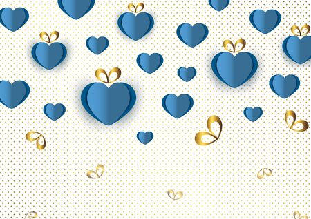 Bright paper hearts and bows on a background of gradient dots, love, celebration, Valentine's Day. Vector illustration for your design. Banque d'images - 133099727