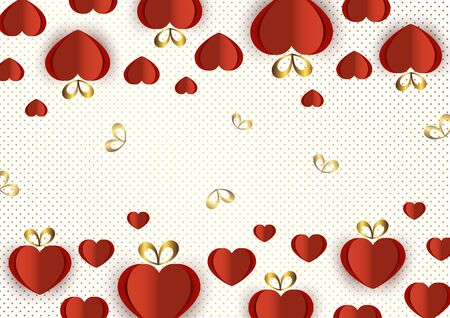 Bright paper hearts and bows on a background of gradient dots, love, celebration, Valentine's Day. Vector illustration for your design. Banque d'images - 133099509