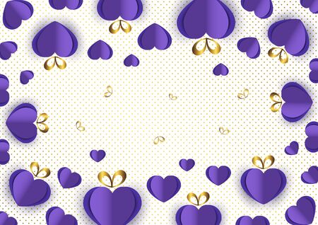 Bright paper hearts and bows on a background of gradient dots, love, celebration, Valentine's Day. Vector illustration for your design. Banque d'images - 133098969