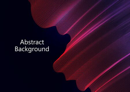 Abstract wavy square grid on a black background. Bright color gradient. Elegant background for wallpaper, banner, cover, flyer. Business template. Vector illustration Banque d'images - 133099849