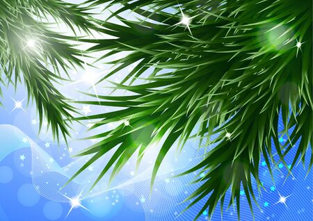 Sparkling christmas decorative background with green spruce branches, magic glare. Vector illustration for your design.
