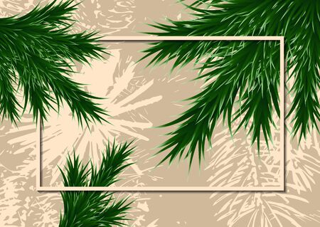 Fir branches and frame on a background with testure. Template for design. Vector illustration Banque d'images - 133098892