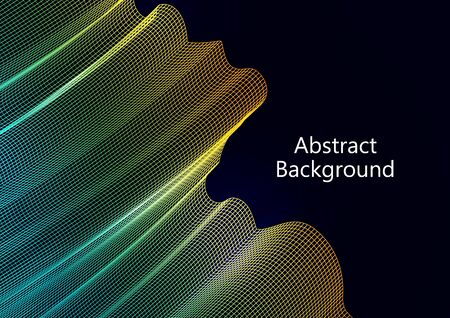 Abstract wavy square grid on a black background. Bright color gradient. Elegant background for wallpaper, banner, cover, flyer. Business template. Vector illustration Banque d'images - 133099838