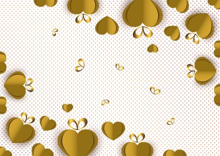 Bright paper hearts and bows on a background of gradient dots, love, celebration, Valentine's Day. Vector illustration for your design. Banque d'images - 133099748